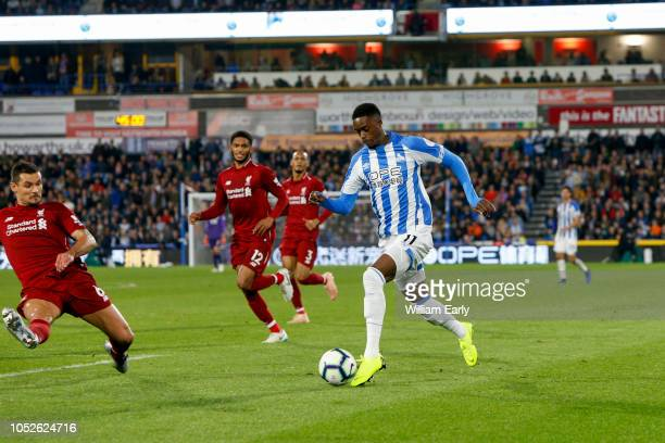 Adama Diakhaby of Huddersfield Town and Dejan Lovren of Liverpool FC during the Premier League match between Huddersfield Town and Liverpool FC at...