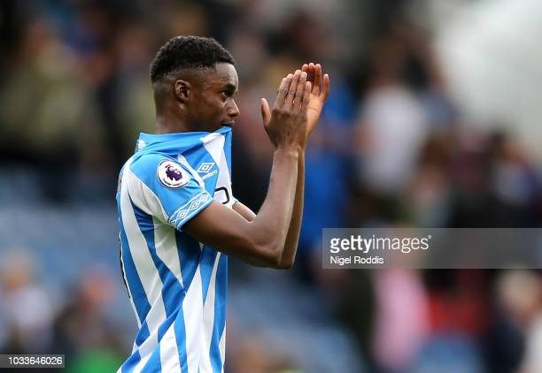 Adama Diakhaby of Huddersfield Town applauds fans after the Premier League match between Huddersfield Town and Crystal Palace at John Smith's Stadium...