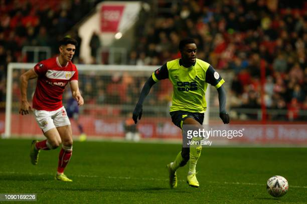 Adama Diakhaby of Huddersfield Town during the FA Cup Third Round match between Bristol City and Huddersfield Town at Ashton Gate on January 05 2019...