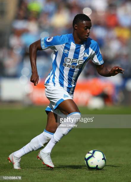 Adama Diakhaby of Huddersfield Town during the Premier League match between Huddersfield Town and Cardiff City at John Smith's Stadium on August 25...