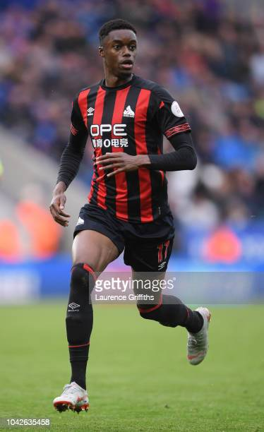 Adama Diakhaby of Huddersfield Town in action during the Premier League match between Leicester City and Huddersfield Town at The King Power Stadium...