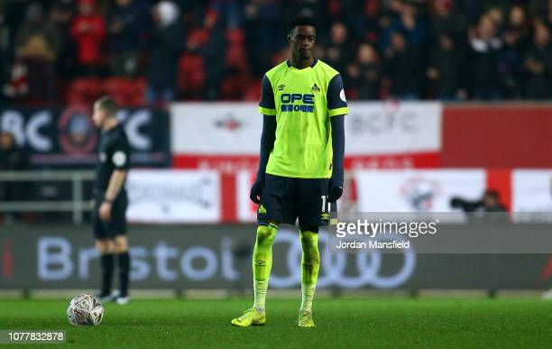 Adama Diakhaby of Huddersfield Town looks dejected during the FA Cup Third Round match between Bristol City and Huddersfield Town at Ashton Gate on...