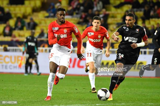 Adama Diakhaby of Monaco and Alexander Djiku of Caen during the french League Cup match Round of 16 between Monaco and Caen on December 12 2017 in...