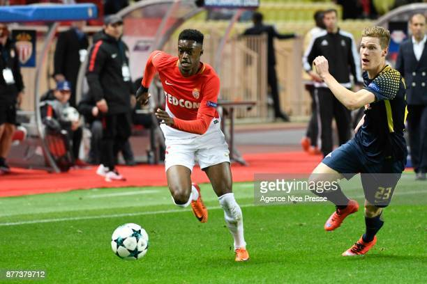Adama Diakhaby of Monaco and Marcel Halstenberg of Leipzig during the UEFA Champions League match between As Monaco and RB Leipzig at Stade Louis II...