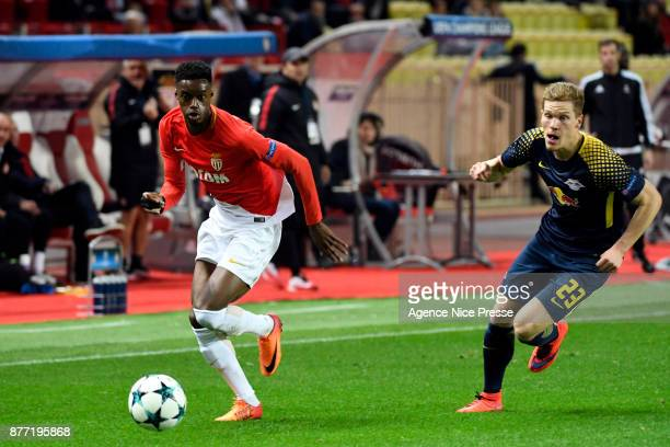 Adama Diakhaby of Monaco and Marcel Halstenberg of Liepzig during the UEFA Champions League match between As Monaco and RB Leipzig at Stade Louis II...