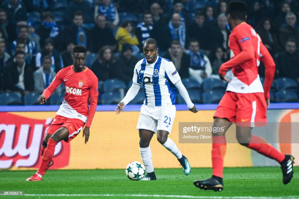 Adama Diakhaby of Monaco and Ricardo of Porto during the Uefa Champions League match between Fc Porto and As Monaco at Estadio do Dragao on December 6, 2017 in Porto, Portugal.
