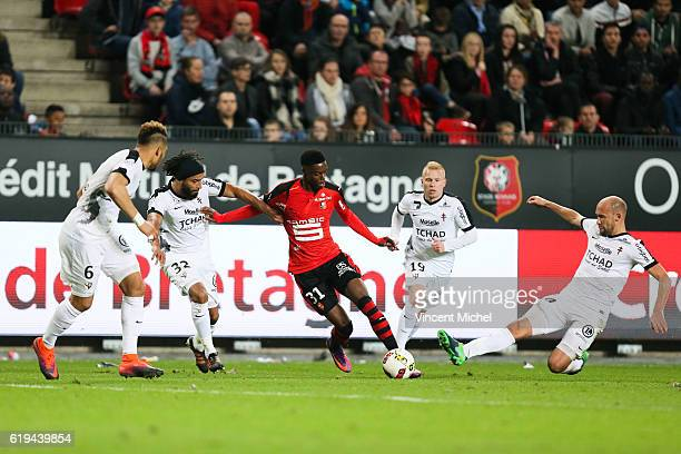 Adama Diakhaby of Rennes and Renaud Cohade of Metz during the French Ligue 1 match between Rennes and Metz at Stade de la Route de Lorient on October...