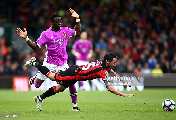 Adama Diomande of Hull City fouls Adam Smith of AFC Bournemouth during the Premier League match between AFC Bournemouth and Hull City at Vitality...