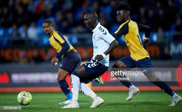 Adama Guira of AGF Aarhus passes the ball during the Danish Superliga match between Hobro IK and AGF Aarhus at DS Arena on August 24 2018 in Hobro...