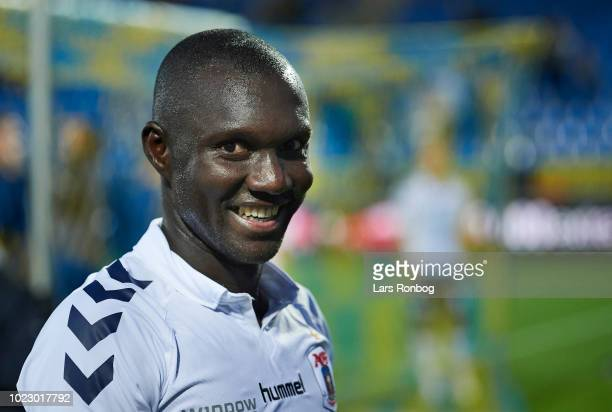 Adama Guira of AGF Aarhus smiling after the Danish Superliga match between Hobro IK and AGF Aarhus at DS Arena on August 24 2018 in Hobro Denmark