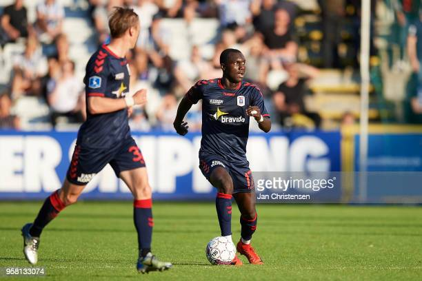 Adama Guira of AGF Arhus controls the ball during the Danish Alka Superliga match between OB Odense and AGF Arhus at EWII Park on May 13 2018 in...