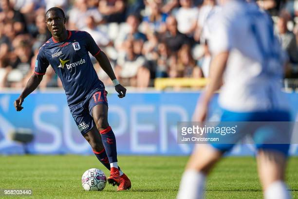 Adama Guira of AGF Arhus in action during the Danish Alka Superliga match between OB Odense and AGF Arhus at EWII Park on May 13 2018 in Odense...