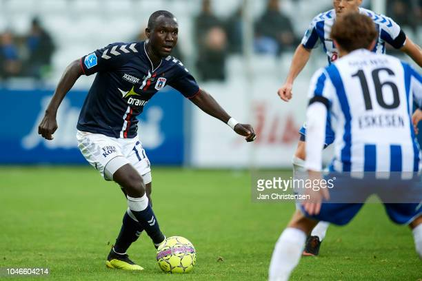 Adama Guira of AGF Arhus in action during the Danish Superliga match between OB Odense and AGF Arhus at Nature Energy Park on October 06 2018 in...