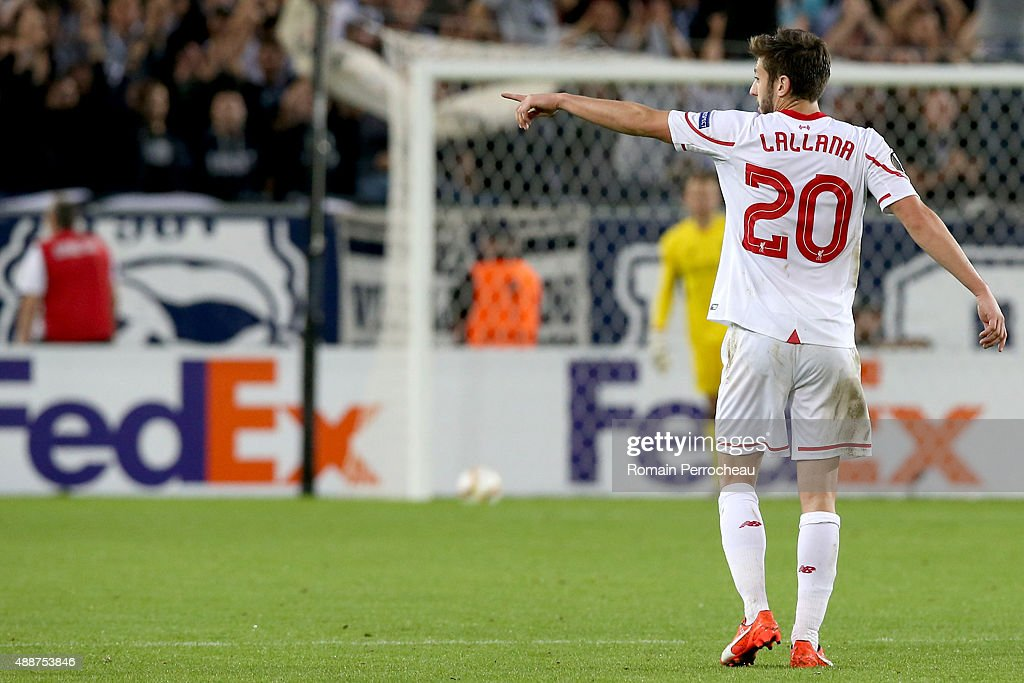 Adama Lallana for Liverpool FC gestures during the Europa League game between FC Girondins de Bordeaux and Liverpool FC at Matmut Atlantique Stadium on September 17, 2015 in Bordeaux, France.