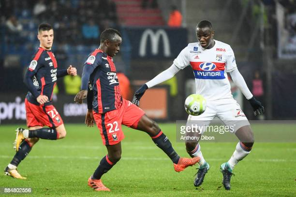 Adama Mbengue of Caen and Mouctar Diakhaby of Lyon during the Ligue 1 match between SM Caen and Olympique Lyonnais at Stade Michel D'Ornano on...