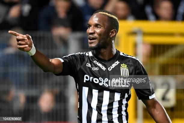 Adama Niane forward of Sporting Charleroi Charleroi celebrates scoring a goal pictured during match of the Jupiler Pro League Season 2017 2018...