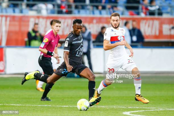 26 Adama Niane of Troyes 29 Lucas Tousart of Lyon during the Ligue 1 match between Troyes AC and Olympique Lyonnais at Stade de l'Aube on October 22...