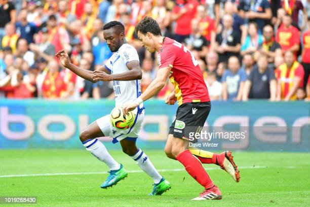 Adama Niane of Troyes and Aleksandar Radovanovic of Lens during the French Ligue 2 match between RC Lens and Troyes at Stade BollaertDelelis on...