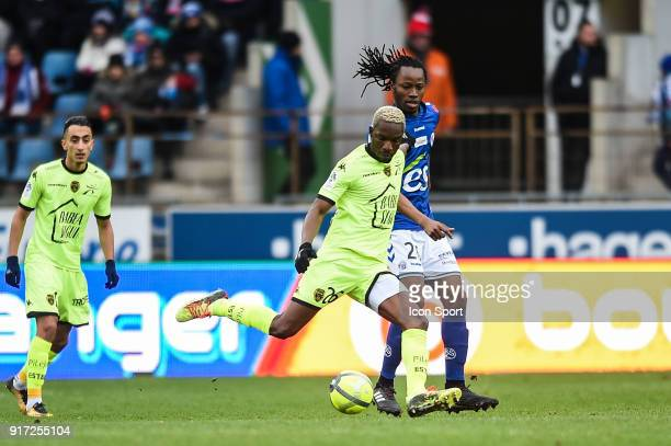 Adama Niane of Troyes and Bakary Kone of Strasbourg during the Ligue 1 match between Strasbourg and Troyes AC at on February 11 2018 in Strasbourg
