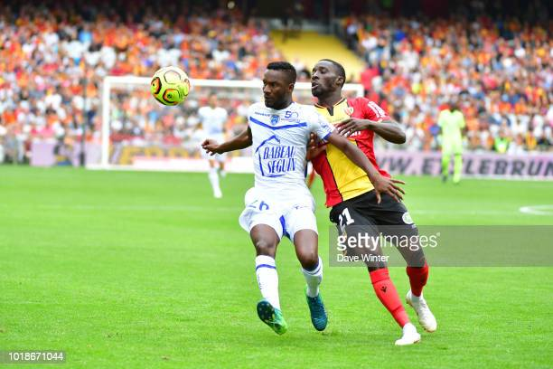Adama Niane of Troyes and Massadio Haidara of Lens during the French Ligue 2 match between RC Lens and Troyes at Stade BollaertDelelis on August 18...
