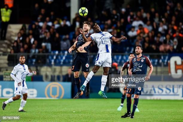 Adama Niane of Troyes and Paul Lasne of Montpellier during the Ligue 1 match between Montpellier Herault SC and Troyes AC at Stade de la Mosson on...