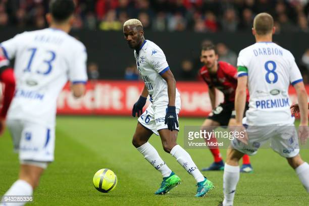 Adama Niane of Troyes during the Ligue 1 match between EA Guingamp and Troyes AC at Stade du Roudourou on April 7 2018 in Guingamp