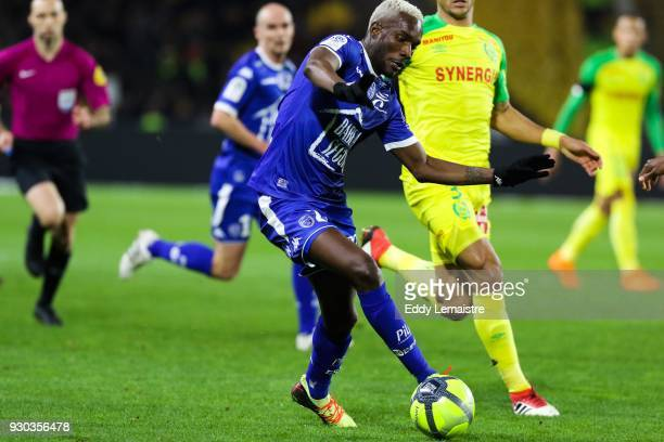 Adama Niane of Troyes during the Ligue 1 match between Nantes and Troyes AC at Stade de la Beaujoire on March 10 2018 in Nantes