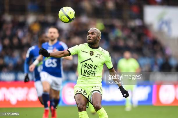 Adama Niane of Troyes during the Ligue 1 match between Strasbourg and Troyes AC at on February 11 2018 in Strasbourg