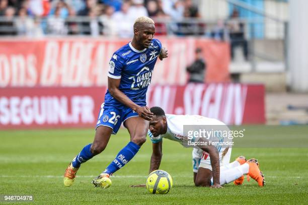 Adama Niane of Troyes during the Ligue 1 match between Troyes Estac and Olympique de Marseille at Stade de l'Aube on April 15 2018 in Troyes