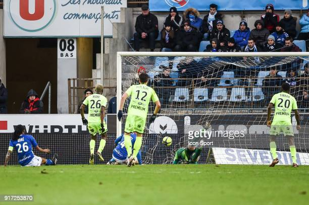 Adama Niane of Troyes scores a goal during the Ligue 1 match between Strasbourg and Troyes AC at on February 11 2018 in Strasbourg