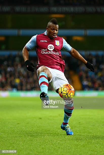 Adama of Aston Villa in action during the Barclays Premier League match between Aston Villa and West Ham United at Villa Park on December 26 2015 in...