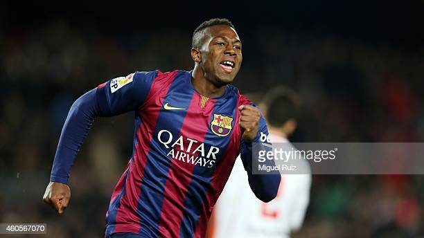 Adama of FC Barcelona celebrates as he scored the seventh goal during the Copa del Rey 1/16 2nd leg match between FC Barcelona and SD Huesca at Camp...