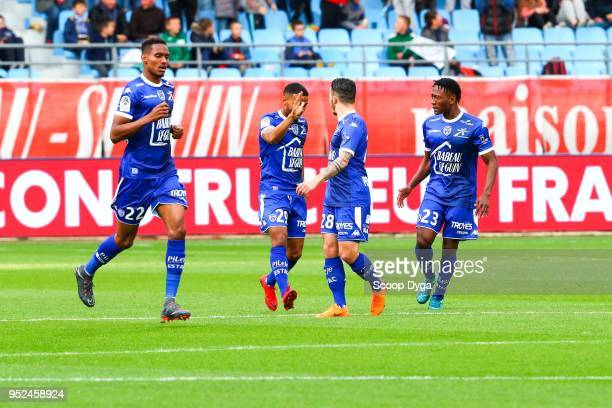 Adama of Troyes and TRAORE Charles Blonda of Troyes and HERELLE Christophe of Troyes during the Ligue 1 match between Troyes AC and SM Caen at Stade...