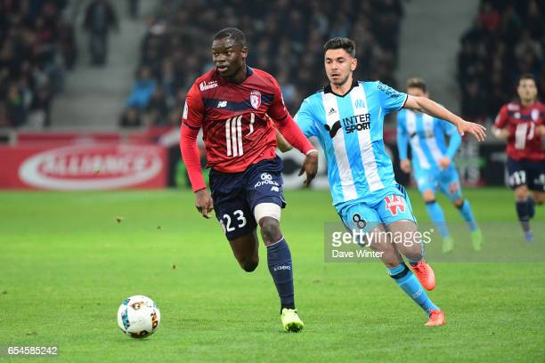 Adama Soumaoro of Lille and Morgan Sanson of Marseille during the Ligue 1 match between Lille OSC and Olympique de Marseille at Stade Pierre Mauroy...