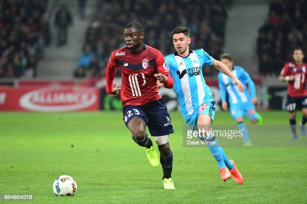 Adama Soumaoro of Lille during the Ligue 1 match between Lille OSC and Olympique de Marseille at Stade Pierre Mauroy on March 17 2017 in Lille France
