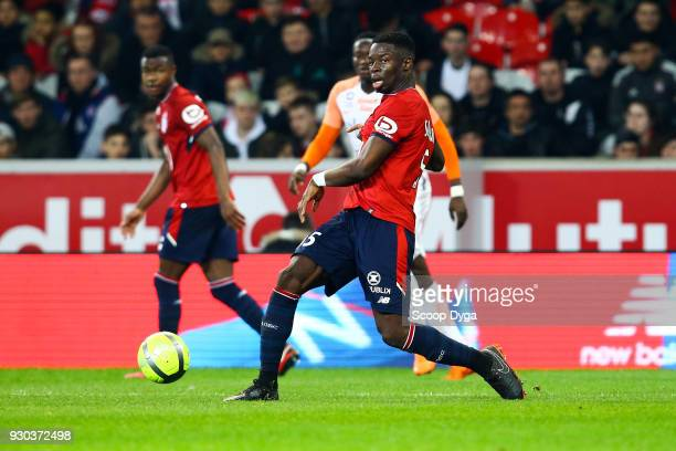 Adama Soumaoro of Lille during the Ligue 1 match between Lille OSC and Montpellier Herault SC at Stade Pierre Mauroy on March 10 2018 in Lille