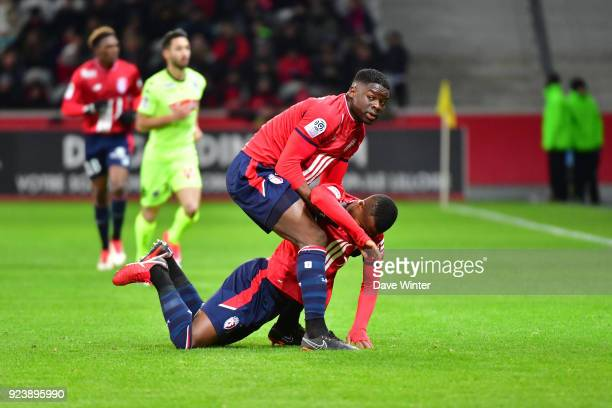 Adama Soumaoro of Lille helps Kouadio Yves Dabila of Lille up after their collision during the Ligue 1 match between Lille OSC and Angers SCO at...