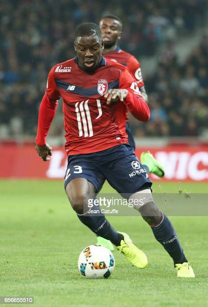 Adama Soumaoro of Lille in action during the Ligue 1 match between Lille OSC and Olympique de Marseille at Stade PierreMauroy on March 17 2017 in...