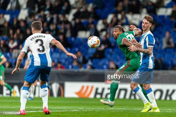 Adama Traore and Fernando Calero during the match between RCD Espanyol and Wolverhampton Wanderers FC, corresponding to the second leg of the round...