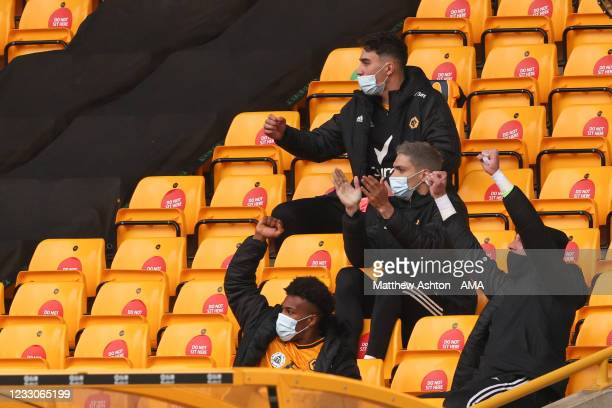 Adama Traore and Raul Jimenez of Wolverhampton Wanderers celebrates a goal to make it 1-1 during the Premier League match between Wolverhampton...
