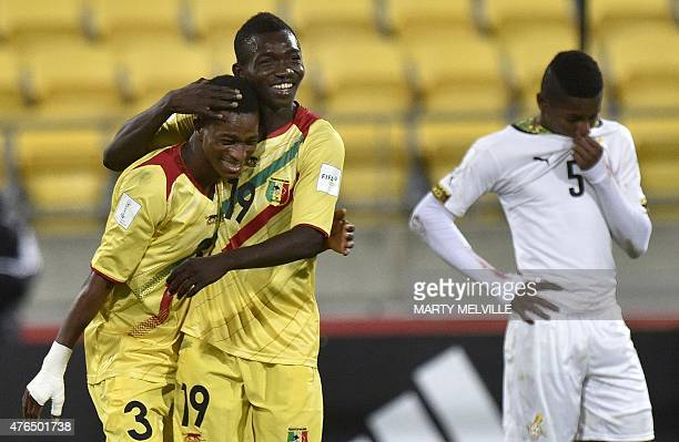 Adama Traore and Souleymane Diarra of Mali celebrate a goal against Ghana during their FIFA Under20 World Cup round of 16 football match at...