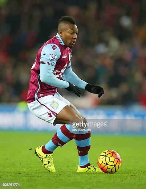 Adama Traore of Aston Villa controls the ball during the match between Sunderland and Aston Villa at The Stadium of Light on January 02 2016 in...
