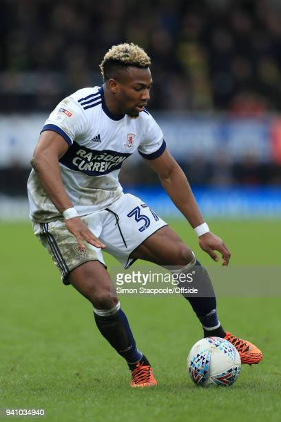 Adama Traore of Boro in action during the Sky Bet Championship match between Burton Albion and Middlesbrough at the Pirelli Stadium on April 2 2018...