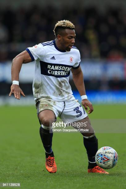 Adama Traore of Boro in action during the Sky Bet Championship match between Burton Albion and Middlesbrough at the Pirelli Stadium on April 2, 2018...