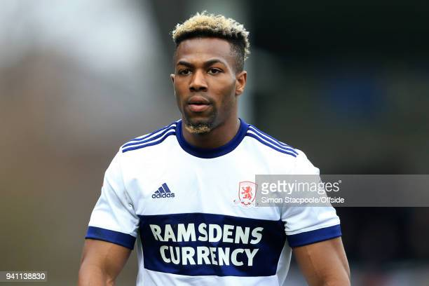 Adama Traore of Boro looks on during the Sky Bet Championship match between Burton Albion and Middlesbrough at the Pirelli Stadium on April 2 2018 in...