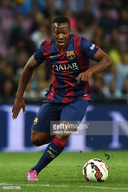 Adama Traore of FC Barcelona in action during the preseason friendly match between FC Barcelona and SSC Napoli on August 6 2014 in Geneva Switzerland