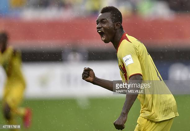 Adama Traore of Mali celebrates a goal during the FIFA Under20 World Cup football playoff for third place between Senegal and Mali at North Harbour...