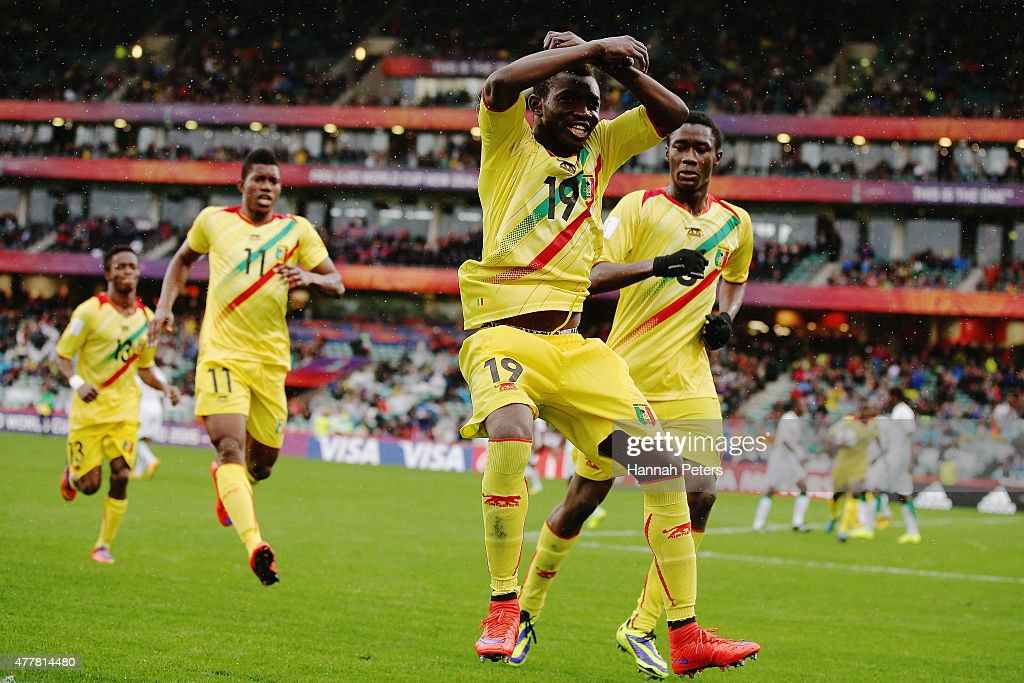 Adama Traore of Mali celebrates after scoring a goal during the FIFA U-20 World Cup Third Place Play-off match between Senegal and Mali at North Harbour Stadium on June 20, 2015 in Auckland, New Zealand.