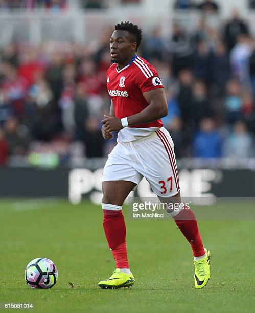 Adama Traore of Middlesborough controls the ball during the Premier League match between Middlesbrough and Watford at Riverside Stadium on October 16...