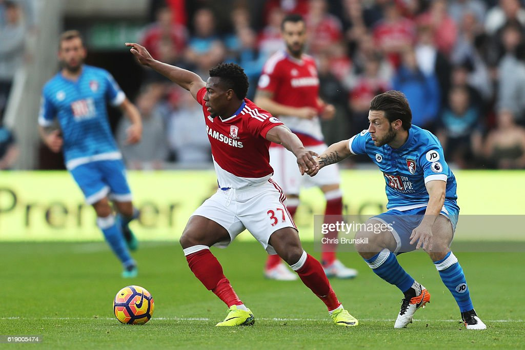 Adama Traore of Middlesbrough (L) and Harry Arter of AFC Bournemouth battle for possession during the Premier League match between Middlesbrough and AFC Bournemouth at the Riverside Stadium on October 29, 2016 in Middlesbrough, England.